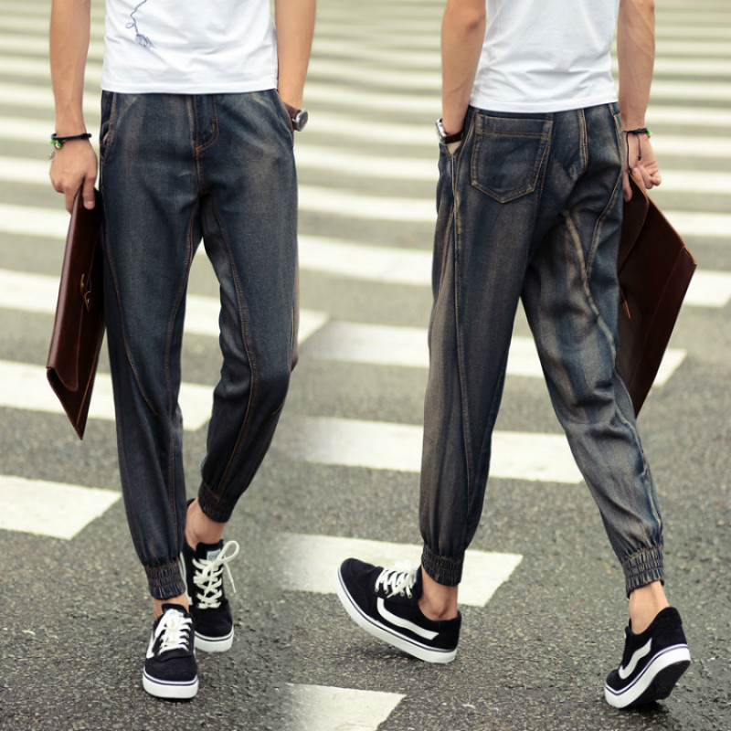 2017 Men Harem Pants Denim Hip-Hop Jeans Ankle-Length Pants Casual Pants Trousers for Man Size 5XL Mens Joggers Sweatpants