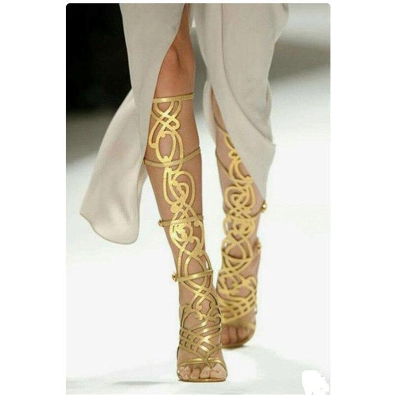 Piste or bout ouvert découpes genou bottes d'été Designer gladiateur femmes sandales bottes de luxe talons hauts fête chaussures femme