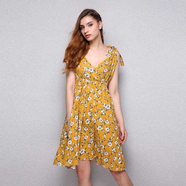 Fun Orange Y Backless Padded Print Summer Dress Women V Neck Beach Dresses Boho Strap