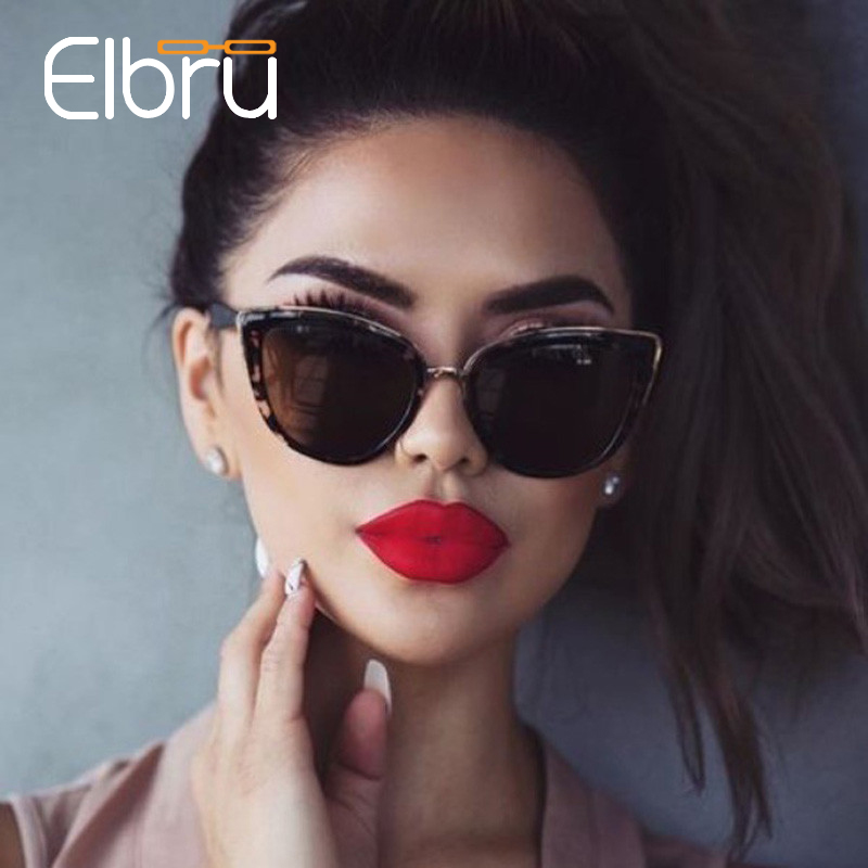 Elbru Cateye Sunglasses Women Vintage Gradient Glasses Retro Cat Eye Sun Glasses Female Eyewear UV400 Gafas Lunette Soleil Femme