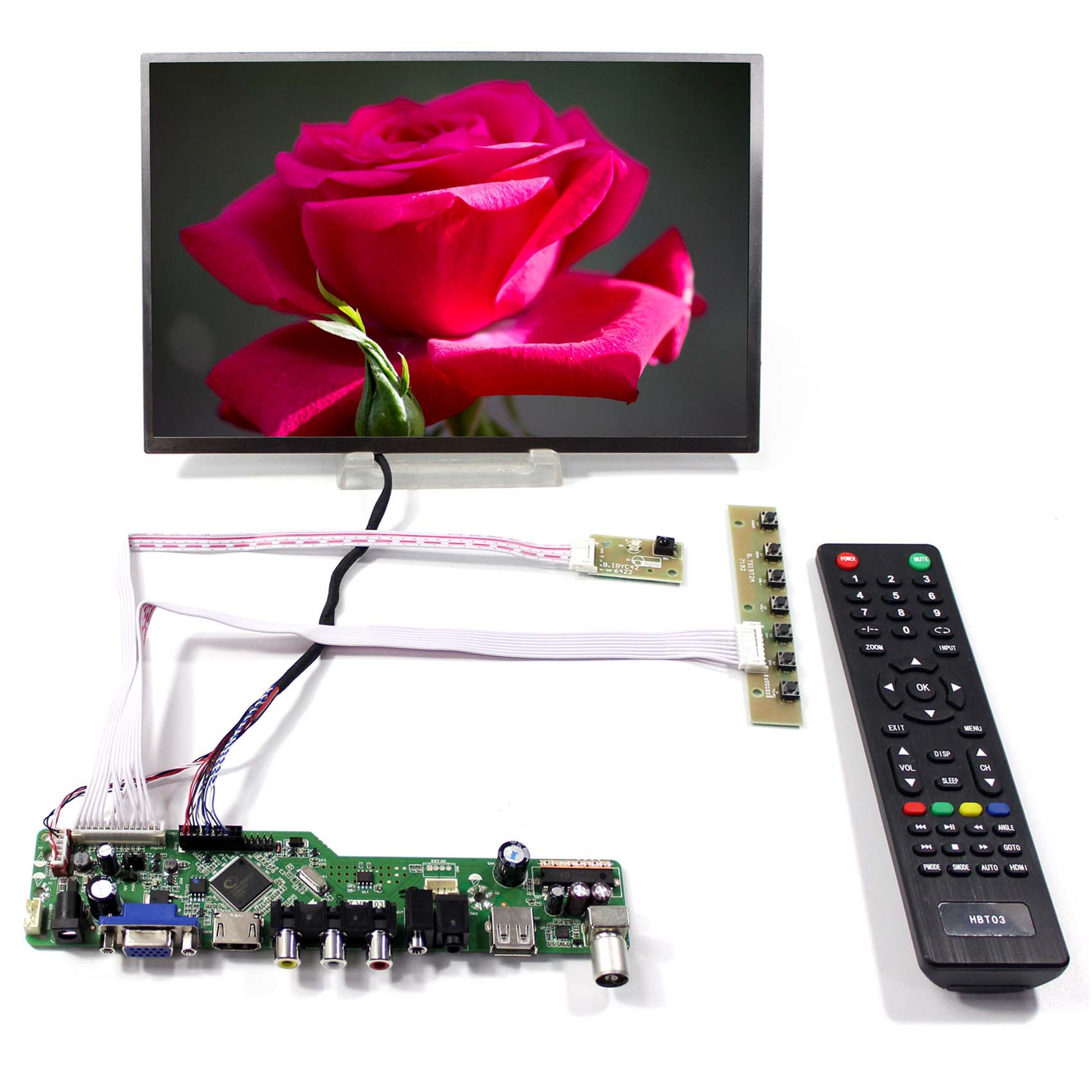 TV HDMI VGA AV USB LCD Driver Board With 10.1inch B101EW05 1280x800 LCD Screen tv driver board hx v29 39 l