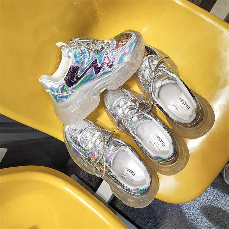 2019 новые брендовые весенние трендовые женские прозрачные Кроссовки Женская прозрачная обувь на платформе повседневная обувь с лазером блестящая обувь
