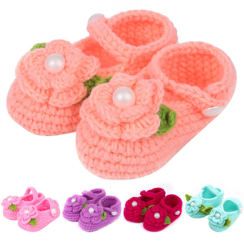 2016 Lovely Newborn Baby Girls Kids Prewalker Soft Soled Shoes Crochet Knitting Footwear Infant Toddler Princess First Walkers