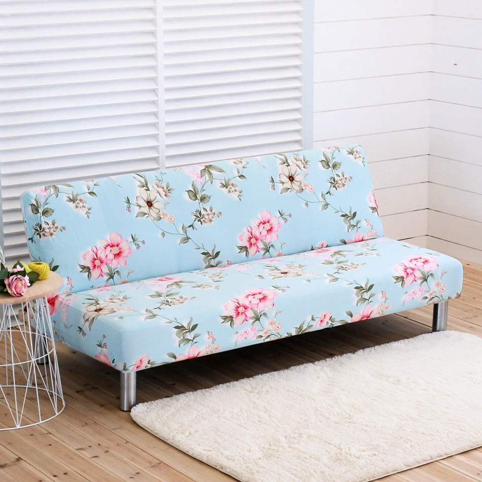Blue Armless Flowers Sofa Bed Covers Home Decor Slipcovers