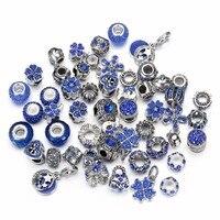 8 Renkler Karışık Gümüş Ton Charms Rhinestones Boncuk Charms Murano Cam Boncuk ve Paspayı 50 of Paketi