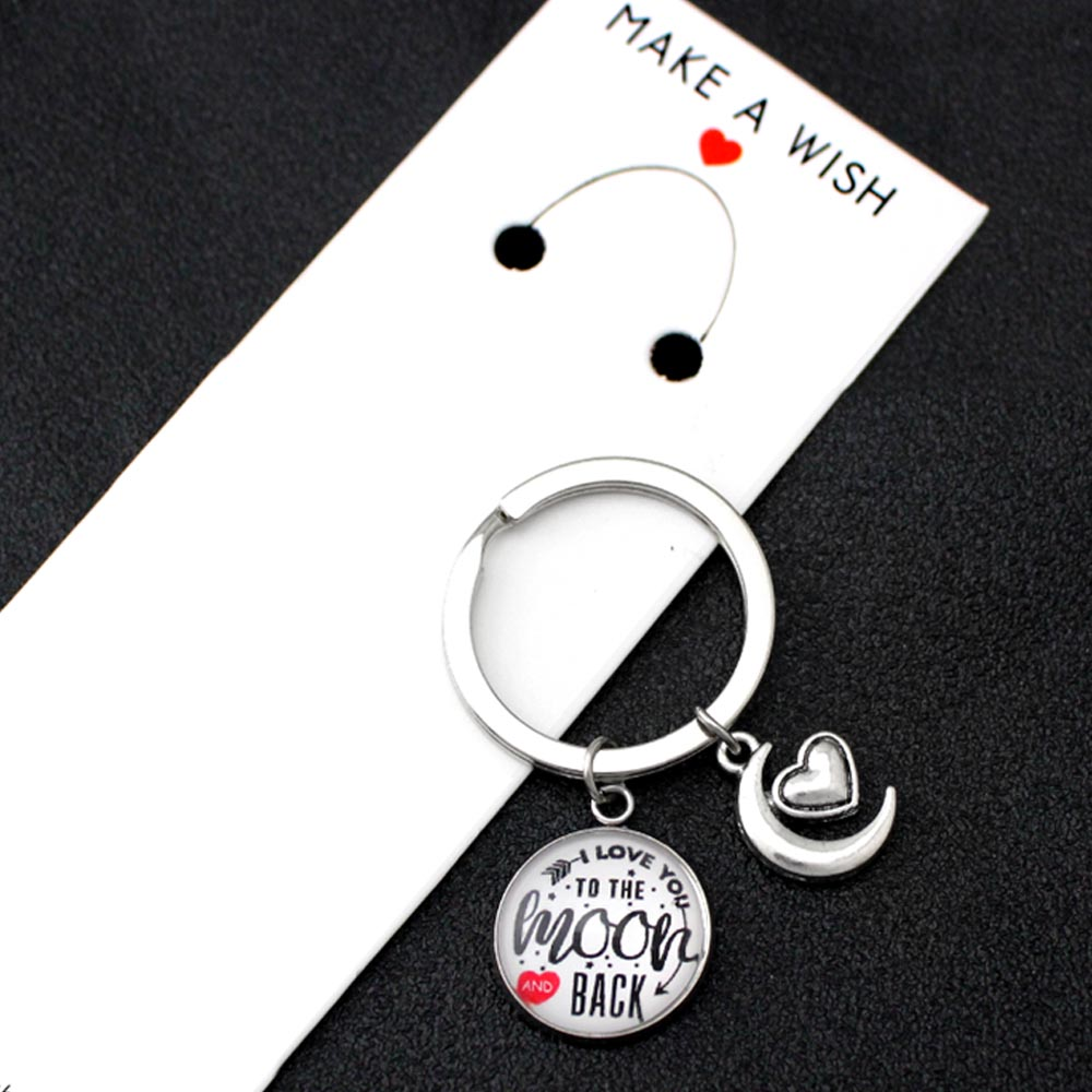 I Love You to The Moon and Back Keychains Moon Keychain Key Chains Keyring Women Men Unisex Jewelry Best Friends Lover Gift in Key Chains from Jewelry Accessories
