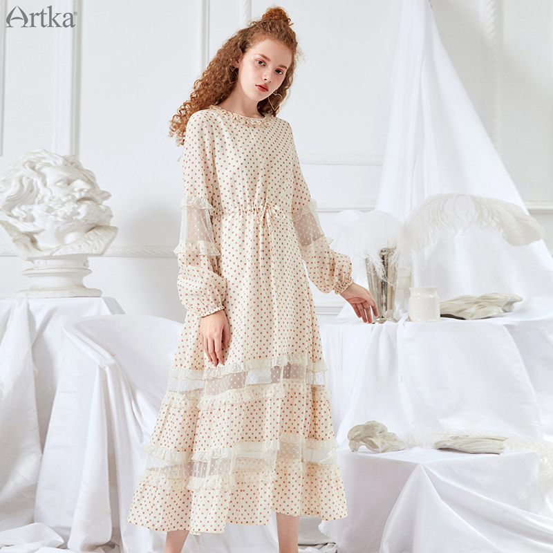 ARTKA 2019 Spring Summer Women Dresses Featured Lace Stitching O Neck Sweet Dot Dress For Women