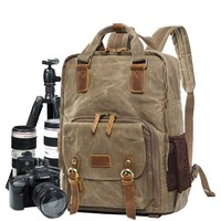 Canvas Digital DSLR Camera Bag Waterproof Camera Video Backpack With Rain Cover SLR Tripod Laptop Case Bags For Sony Canon Nikon