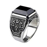 Винтаж кольцо Для мужчин реального Чистая 925 пробы Серебряные ювелирные изделия черный обсидиан Натуральный камень кольца для Для мужчин s ...