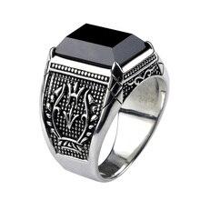 Винтаж кольцо Для мужчин реального Чистая 925 пробы Серебряные ювелирные изделия черный обсидиан Натуральный камень кольца для Для мужчин s панк-рок моды