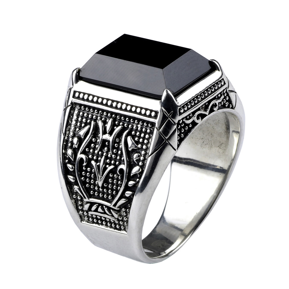 Vintage Ring Men Real Pure 925 Sterling Silver Jewelry Black Obsidian Natural Stone Rings For Mens Punk Rock Fashion