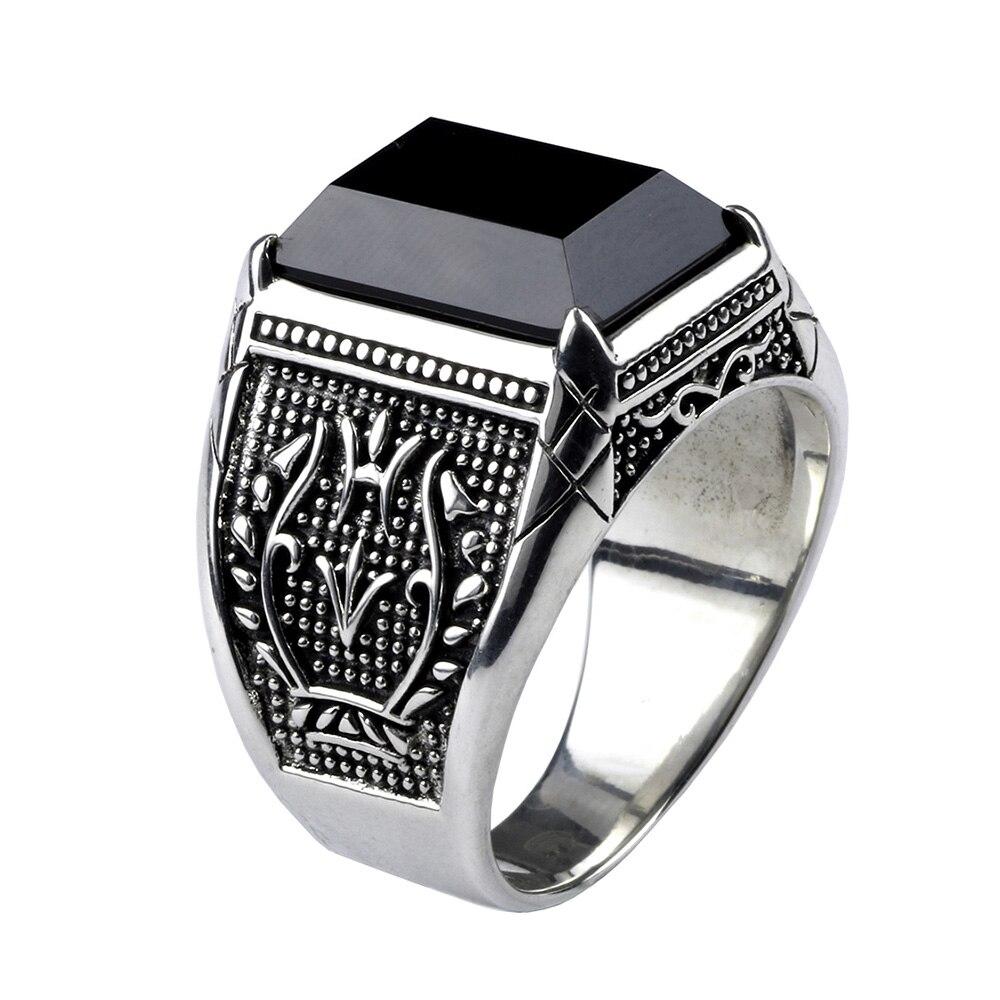 Vintage anillo hombres Real puro 925 plata esterlina joyería negro obsidiana Piedra Natural anillos para hombre Punk Rock moda