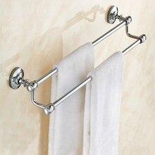 Chrome Polished Bathroom Towel Double Bar Rail Rack Holder Wall Mounted Storage Hotel KD568