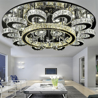New Luxury Flower Shape Chandeliers Crystal Lamp dimmable Ceiling Fixtures Round lustre Living Room Hotel Lights LED Lamp