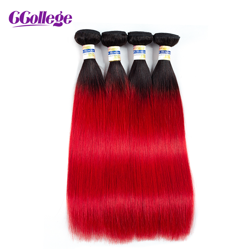 Color T1B/Red Brazilian Hair Weave Bundles Straight hair 4 Bundles 100% Remy Hair Extension 12-24 Inch Free Shipping Ccollege