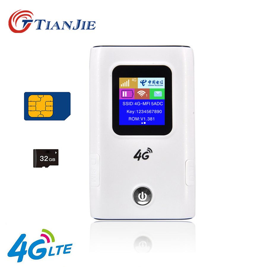 TIANJIE 4G Wifi Router Unlocked 3G/4G LTE Travel Router 5200mAh Power Bank Mifi FDD-LTE Unlock Dongle FDD-LTE Car WiFi