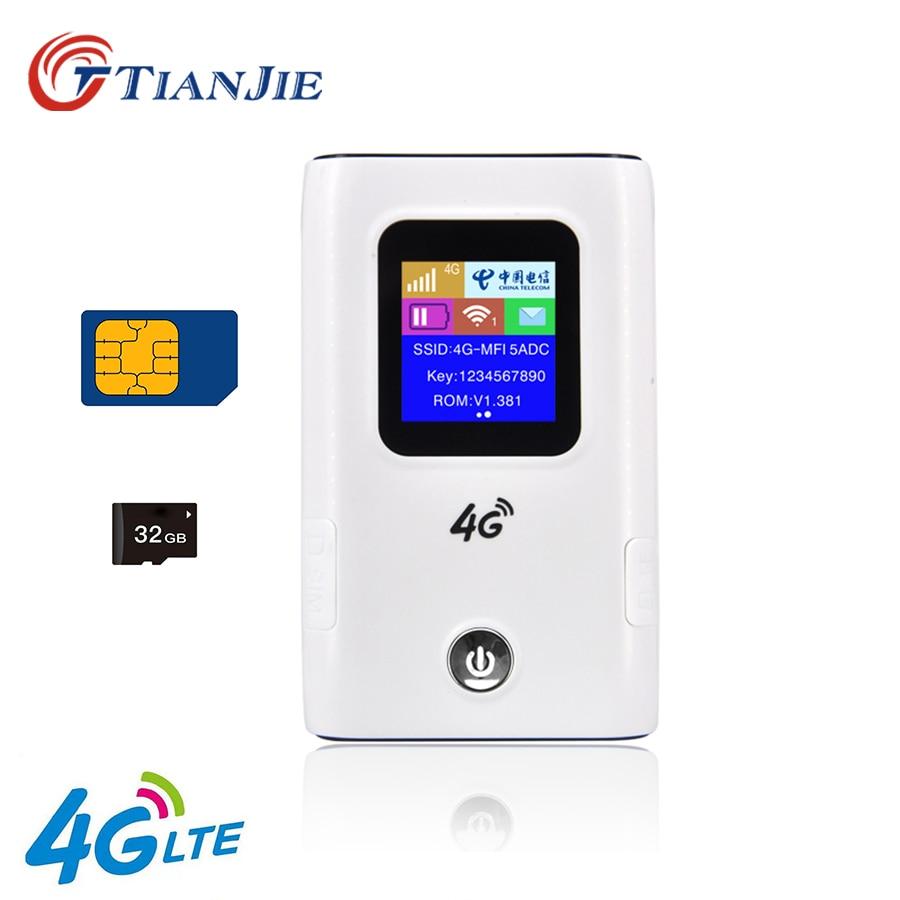 TIANJIE 4G Wifi Router Unlocked 3G/4G LTE Travel Router 6000mAh Power Bank Mifi FDD-LTE Unlock Dongle FDD-LTE Car WiFi