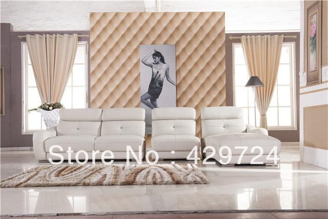 Free Shipping Classic White leather L shaped corner sofa set