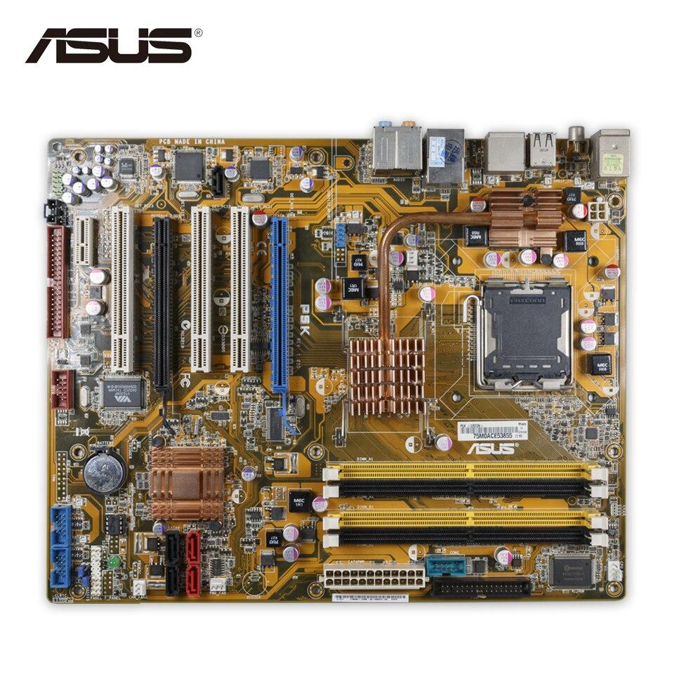 Asus P5K Original Used Desktop Motherboard P35 Socket LGA 775 DDR2 8G SATA2 ATX asus original motherboard g31m s2l g31 ddr2 lga 775 motherboard