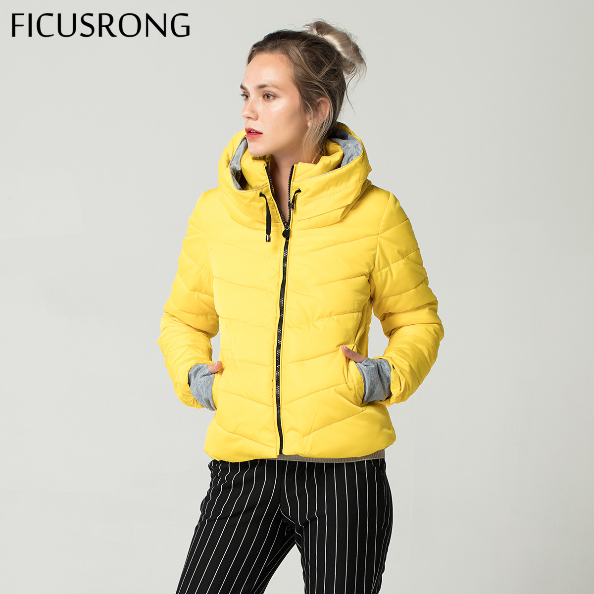 Yellow Women Autumn Winter   Jacket   Stand Collar Cotton Padded Hooded Female   Basic     Jacket   Outerwear Coat chaqueta mujer FICUSRONG