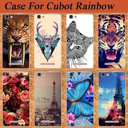 For cubot regnbue Etui Dekning Diy Maling Farget ugle Tiger Rose - Tilbehør og reservedeler til mobiltelefoner