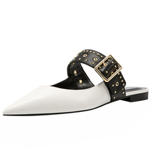 купить 2019 Spring Pointed Toe Rivets Black Blue White Women Mules Slippers Flats Loafers Buckle Woman Casual Shoes по цене 3893.77 рублей