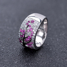 Funmor Flower 925 Sterling Silver Ring Crystal For Women Lady Banquet Wedding Party Decoration Jewelry Finger Accessories Gifts