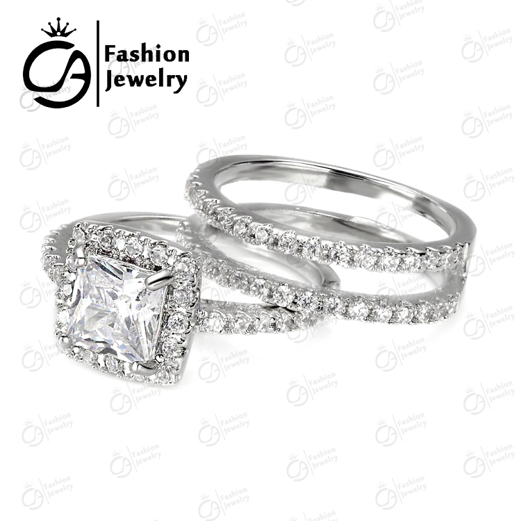 OLA Fashion Jewelry White Gold Halo 2Pc Insert Bridal Set Cubic Zirconia Engagement Wedding Bands Ring R88116 In Rings From Accessories On