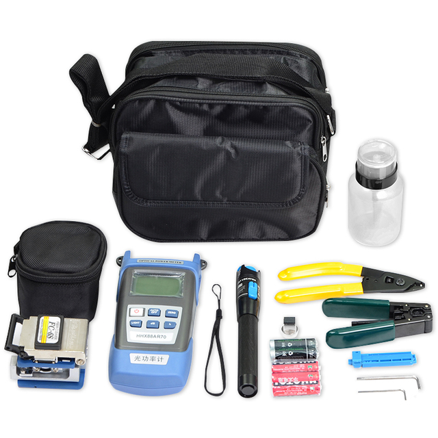 FTTH Fiber Optic Tool Kit with FC-6S Fiber Cleaver Optical Power Meter 5km Red Laser Pen Visual Fault Locator Cable Stripper
