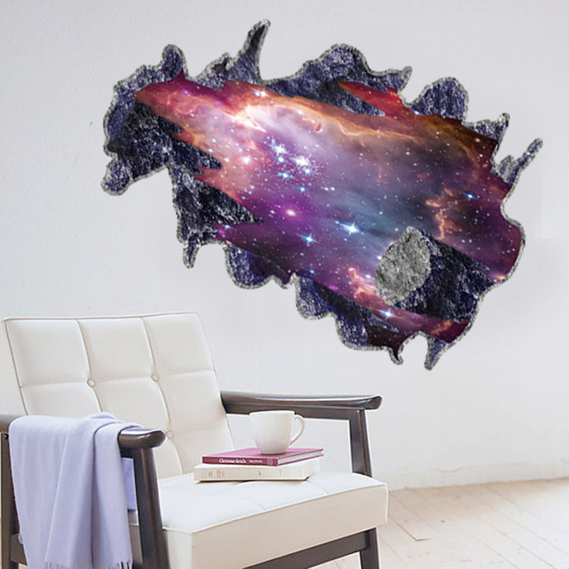 3d galaxy outer space wall sticker removable bedroom/ living room