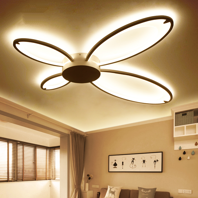 Butterfly Acrylic White led Ceiling Lights for Living Room Bedroom Modern Ultra-thin Simplicity  Ceiling Lamp Light Fixtures noosion modern led ceiling lamp for bedroom room black and white color with crystal plafon techo iluminacion lustre de plafond