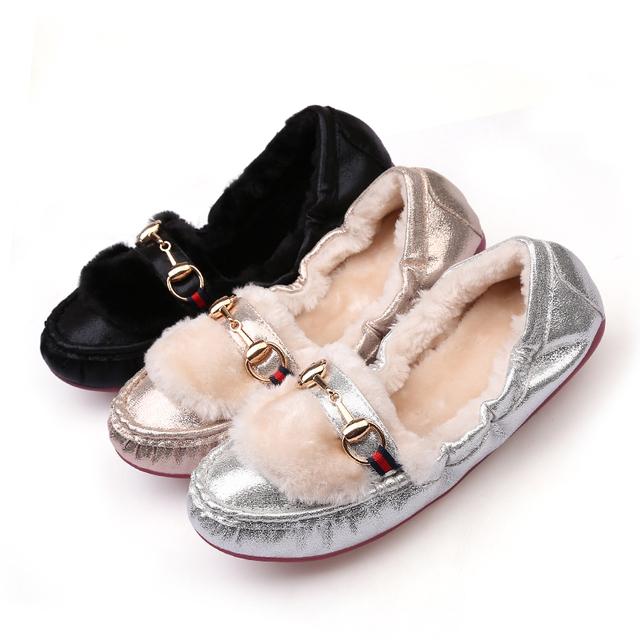 HENSCARYING 2018 Fashion Luxury Women Warm Fur Flat Designer Cinderella Ballet Flats Plus Size 41 42 Beade Shoes Zapatos Mujer
