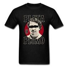 T-shirt Hip Hop noir pour homme, vêtement surdimensionné, avec imprimé Plata O Plomo