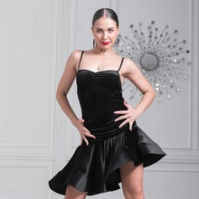black velvet  latin dance costumes for women salsa dress latina dress for dance competition tango dress fringe dance wear samba