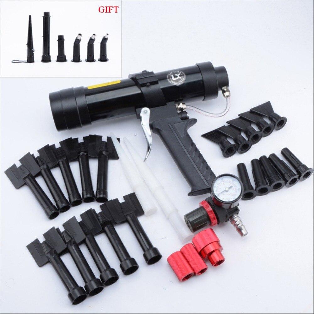 310 ml Pistola de Cola Pneumática de Chapa De Metal Carro Padrão de Onda Conjunto Bocal de Plástico Equipamento Ferramenta Pistola de Calafetagem Selante de Silicone de Vidro ferramenta