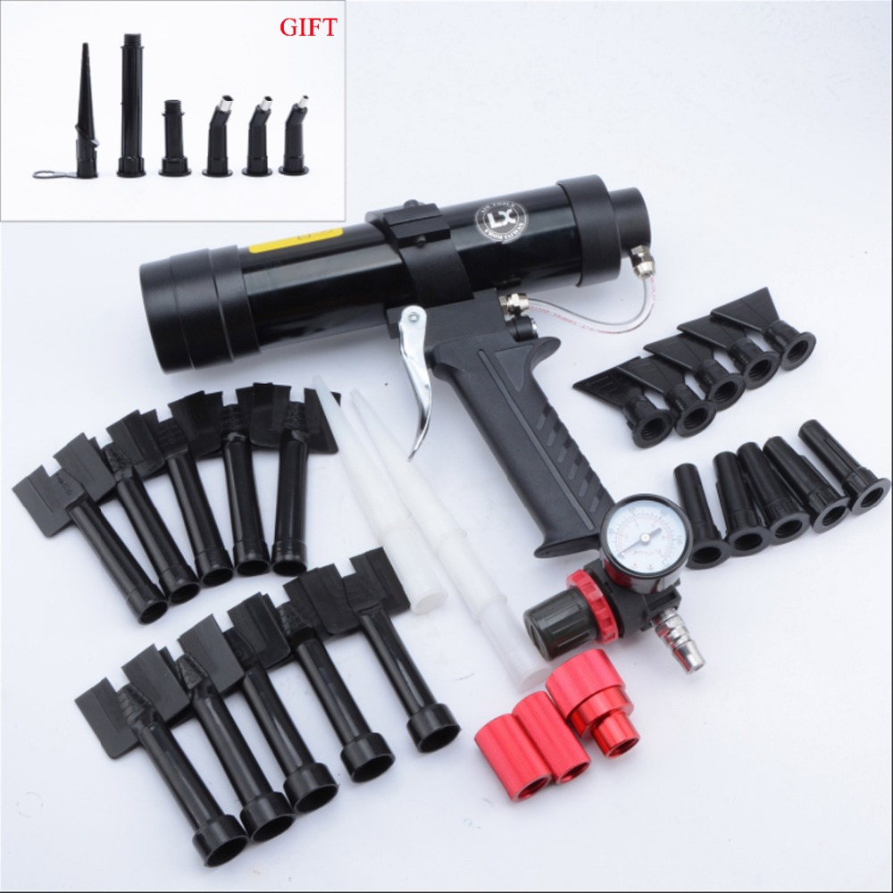 310ml Car Sheet Metal Pneumatic Glue Gun Wave Pattern Glass Caulking Gun Plastic Nozzle Set Tool Equipment Silicone Sealant Tool310ml Car Sheet Metal Pneumatic Glue Gun Wave Pattern Glass Caulking Gun Plastic Nozzle Set Tool Equipment Silicone Sealant Tool
