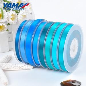 Image 2 - YAMAHA 50 57 63 75 89 100mm 100 yards/lot Parti Düğün Dekorasyon için El Yapımı Gül Çiçekler Çift yüz Saten Kurdele Mavi Kurdela