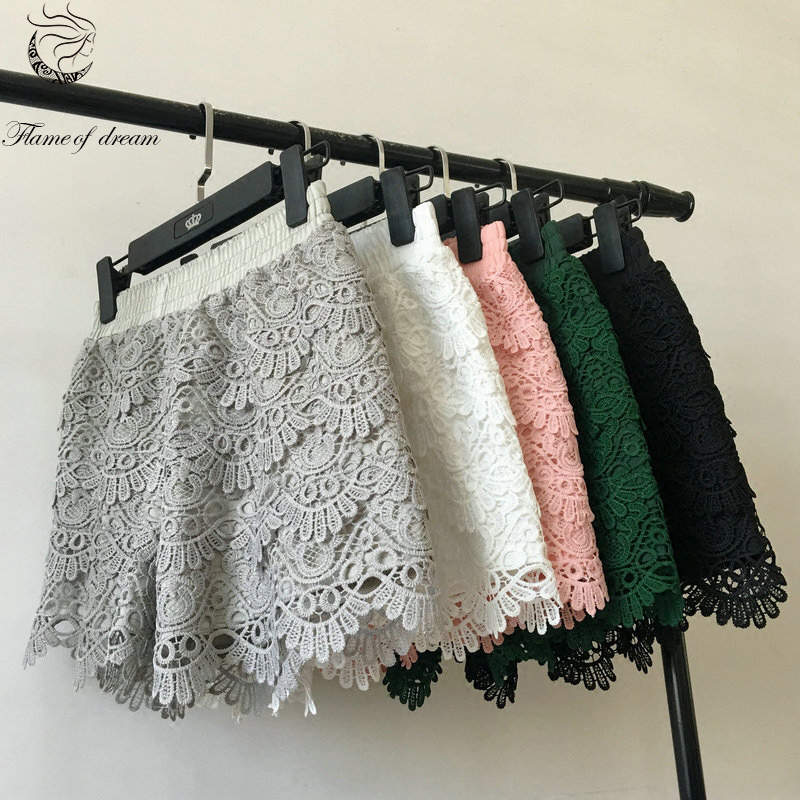 2018 new lace   shorts   women summer   shorts   S-2XL