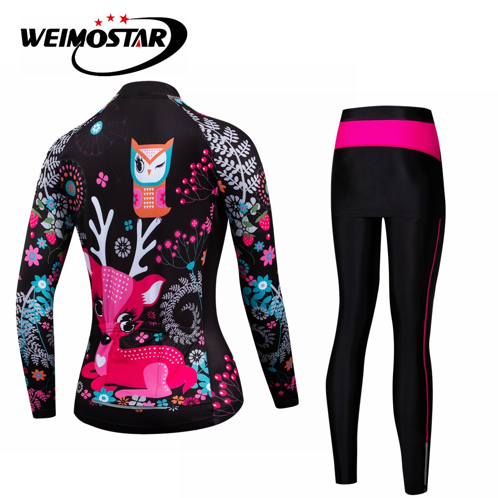 Pink MTB Bike Jersey pants set Women Cycling jersey Suit bicycle Top Bottom Mountain road long