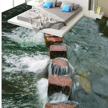 Modern Art  river stones Bathroom Floor  (Custom Photo Floor 3D Wallpaper )