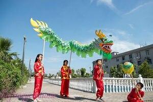 3,1 м детский размер, китайский танцевальный костюм дракона, шелковистый праздничный костюм для 4 детей