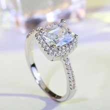 white gold Halo Ring for bague Women square CZ Crystal Wedding Engagement Rings Jewelry JZ2 anillos anel feminino