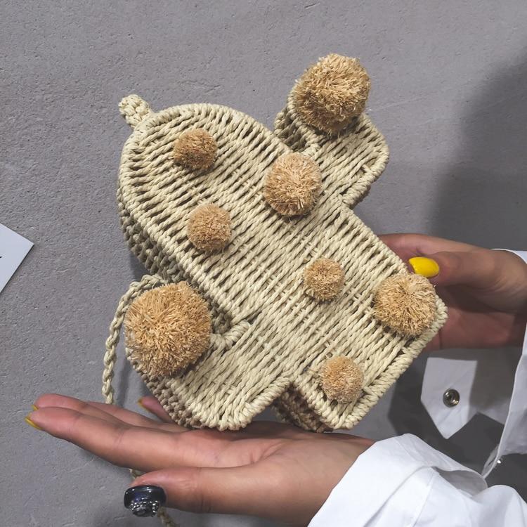 Bolsa de Palha Feminina em forma de Cactos