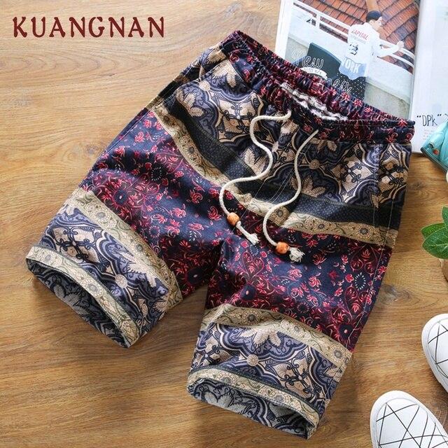 KUANGNAN Summer Shorts Men Cotton Linen Men Shorts Print Casual Short Men Drawstring Mid Regular Regular 2018 Chinese Style