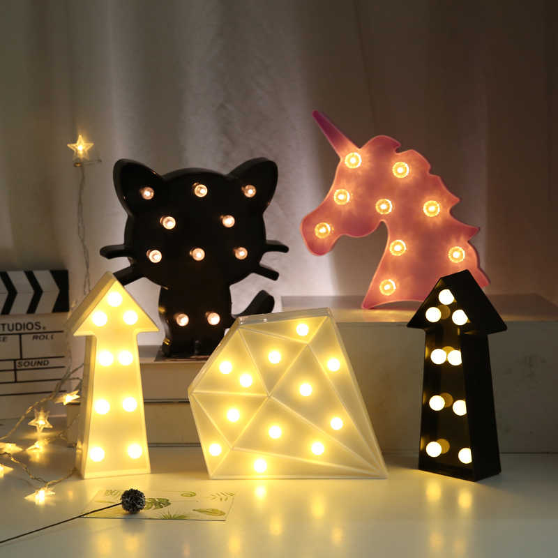 3D Love Heart Marquee Letter Lamps Indoor Decorative Nights Lamps LED Night Light Wedding Party Decoration