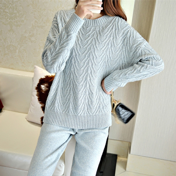 Hot sale sweater 2018 autumn and winter new cashmere knit sweater suit woman loose display thin casual pants two pieces