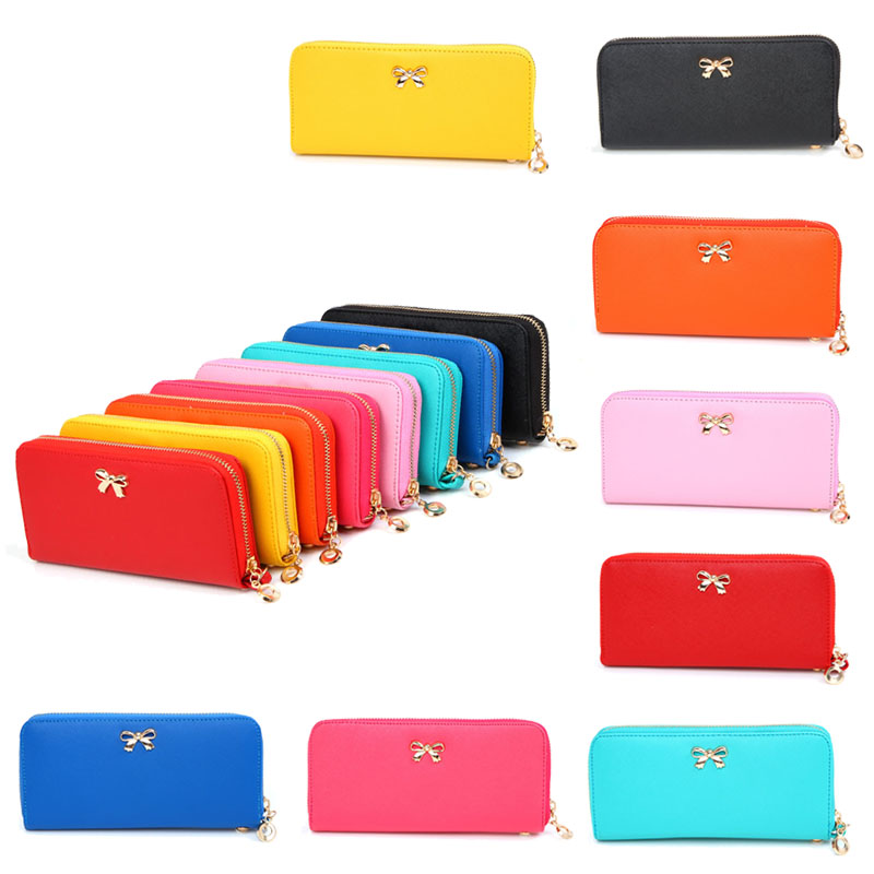 2017 New Female Wallets Fashion Leather Wallet Clutches Korean Cute Bowknot 3D Purse Famous ladies Brand Women Clutches yuanyu free shipping 2017 hot new real crocodile skin female bag women purse fashion women wallet women clutches women purse