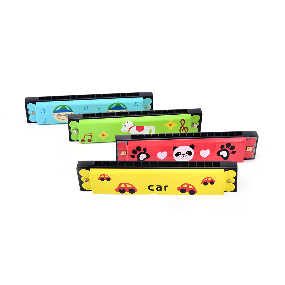 Wooden 16-hole Harmonica Kids Children Musical Instrument Educational Toy - Random Pattern Size: 13 * 3 Cm