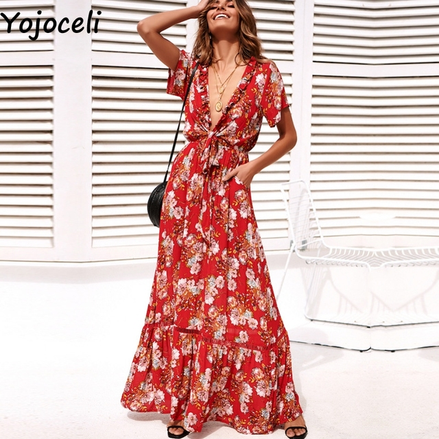 5ffb76b34da1b US $22.99 40% OFF|Yojoceli Sexy bow floral print maxi dress women Summer  boho beach red long dress female vestidos Spring casual daily dress-in ...