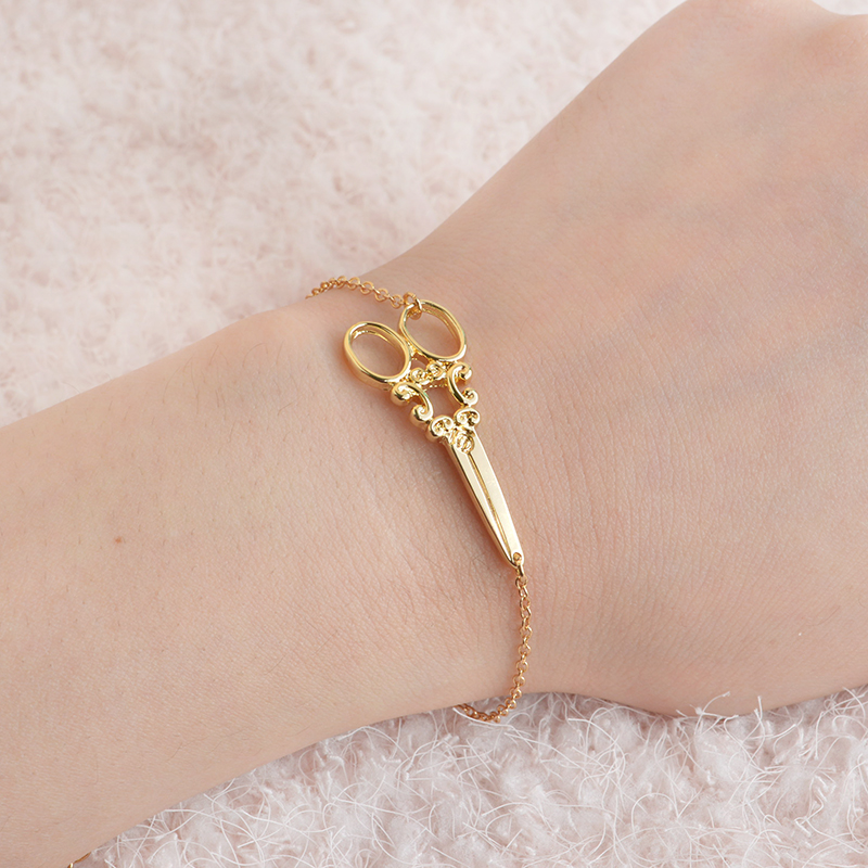 scissors bracelet gold silver color fashion wristband cuff. Black Bedroom Furniture Sets. Home Design Ideas